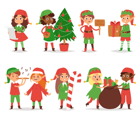 Christmas elf kids vector illustration of  Santa Claus helpers cartoon elfish boys and girls young characters traditional costume celebration.