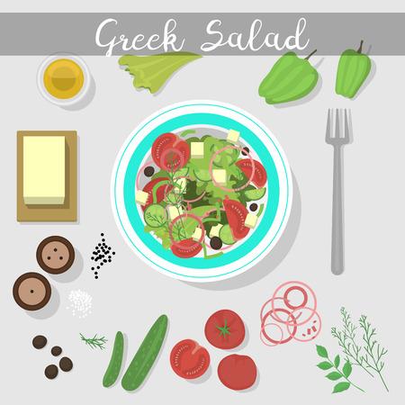 Greek salad with fresh vegetables food ingredient vegetarian olive healthy feta vegetable fresh appetizer vector illustration