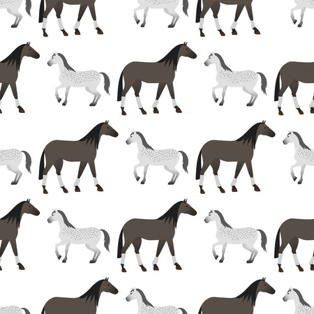 Horse pony stallion seamless pattern equestrian animal characters vector illustration.