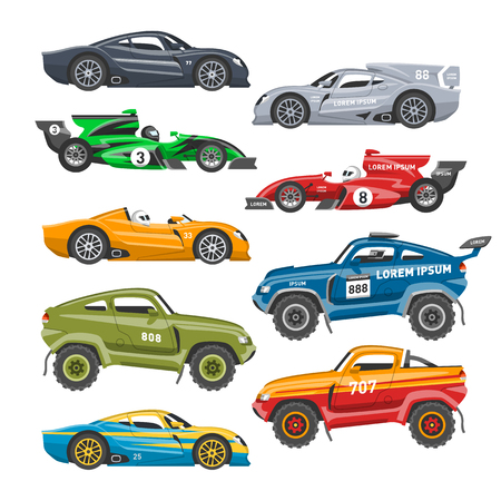Sport speed automobile and offroad rally car colorful fast motor racing auto driver transport motorsport vector illustration. Illustration