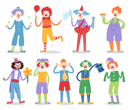 Cartoon clown character funny circus man clownery colorful friendly costume male clownish artist vector illustration.