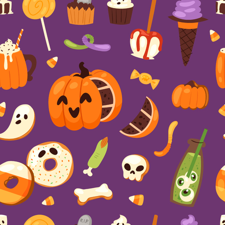 Halloween cookie symbols of food Night cake party vector illustration seamless pattern background