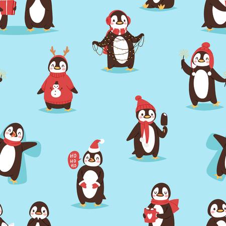 Pájaro lindo de la historieta del pájaro del vector del pingüino de la Navidad celebran las poses de Navidad - juego, walc, mosca y sonrisa feliz de la cara del pingüino en fondo rojo inconsútil del sombrero del sombrero de Santa Foto de archivo - 89913868