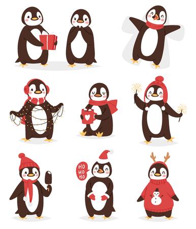 Pájaro lindo de la historieta del carácter del vector del pingüino de la Navidad celebran las poses de Navidad - juego, walc, mosca y sonrisa feliz de la cara del pingüino en el sombrero rojo de Santa Foto de archivo - 90926304