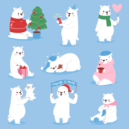 Christmas white bear vector animal cute beauty character funny style different poses celebrate Xmas holiday or New Year time big bear animal