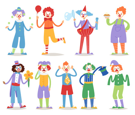 Clown vector circus character funny circus man clownery colorful friendly costume male clownish artist cartoon illustration. Comic joker face comedian performer carnival jester.  イラスト・ベクター素材