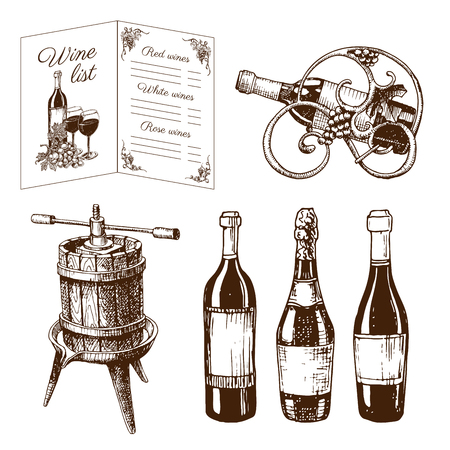 Vintage winery wine production handmade draft winemaking sketch fermentation grape drink vector illustration