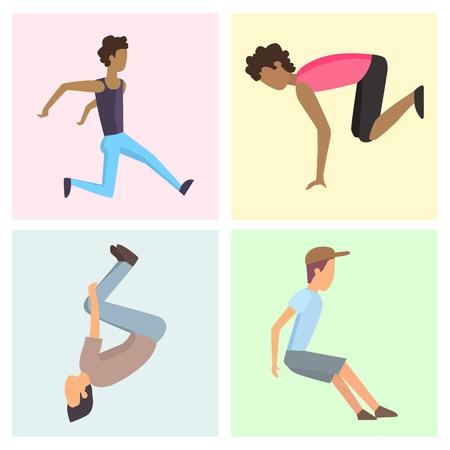 Фитнес спорт паркур карты люди концепция молодой человек прыгает экстремальные опасности опасности гимнастика осуществлять векторные иллюстрации