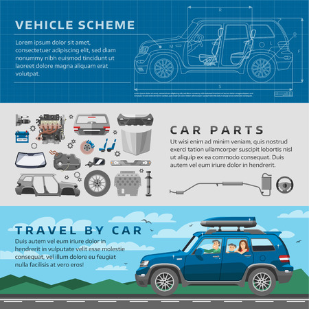 Car repair auto service vector mechanic garage worker career infographic concept. Motorcar parts and happy family vehicle automobile travel illustration