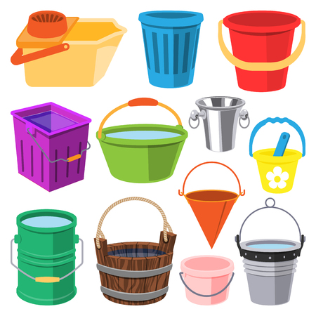 Bucket vector water full wood and metal, plastic bucketful illustration trash bin, pot isolated on white background