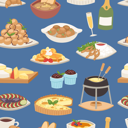 French food vector traditional delicious cuisine meal healthy dinner lunch continental frenchman gourmet plate dish seamless pattern food background illustration Stock Illustration - 90162804
