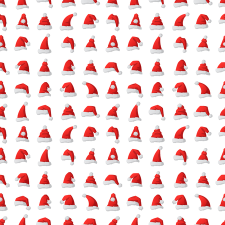 Santa claus fashion red hat seamless pattern background modern elegance cap winter xmas holiday top clothes vector illustration. Illustration