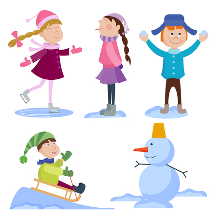 Christmas kids playing winter games cartoon new year winter holiday background vector illustration. Çizim