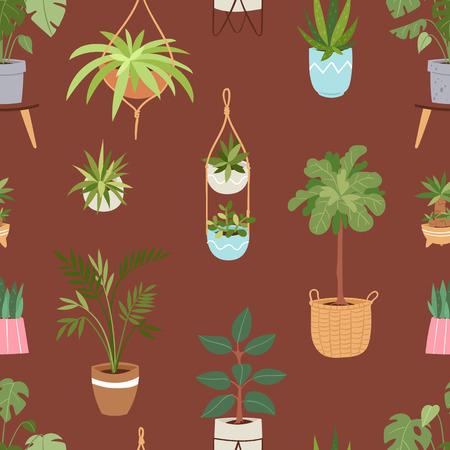 家屋内ベクトルの植物や自然自家製の花ポット インテリア観葉植物天然木植木鉢図シームレスなパターン背景  イラスト・ベクター素材