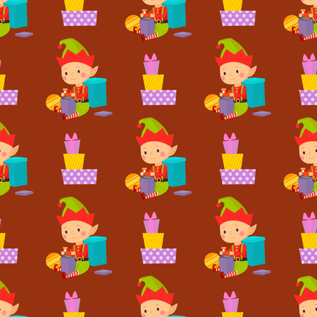 Santa Claus kids cartoon elf helpers vector illustration children characters traditional costume seamless pattern background