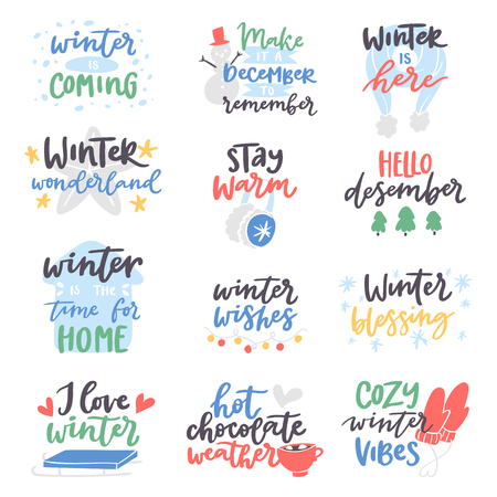 Winter quote vector card text design logo lettering typography saying Hello Christmas poster holiday quotation decoration wintertime illustration