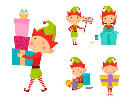 Santa Claus kids cartoon elf helpers vector illustration children characters traditional costume