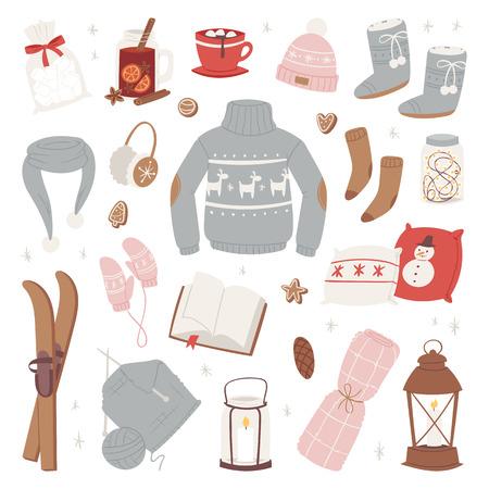 Vector de ropa de invierno conjunto cálido de gorro, bufanda, suéter, guantes, moda, ropa, estilo, suéter, diseño, ropa, colección de invierno, aislado sobre fondo blanco Ilustración de vector
