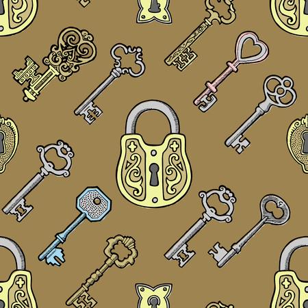 Vector key vintage old sketch retro lock illustration of lock from antique keystone open door keyhole security secret victorian design symbols iseamless pattern background