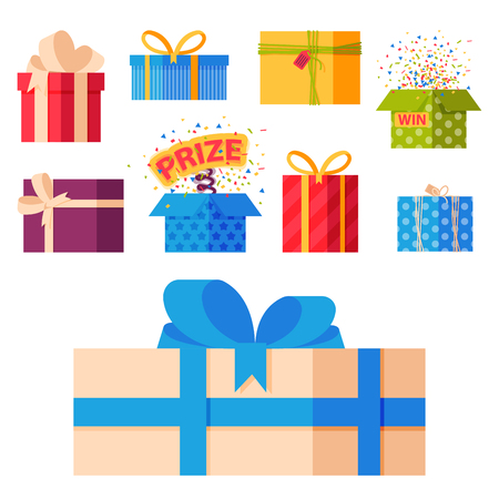 Gift boxes pack composition event greeting object birthday isolated vector illustration.