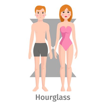 Vector illustration hourglass body shape types characters standing beauty figure cartoon model. Illustration