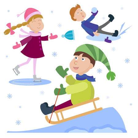 Christmas kids playing games in winter holiday background vector illustration. Illustration