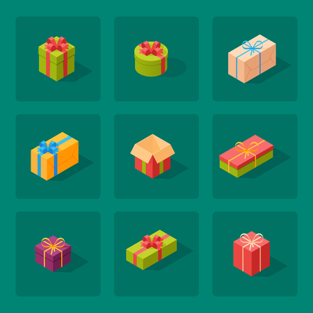 Gift boxes pack composition event greeting isometric birthday, vector illustration.