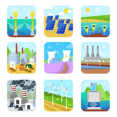 Energie macht vector elektriciteit energie producerende stations fabriek hernieuwbare alternatieve bronnen zonne-, hydro-elektrische of wind set illustratie geïsoleerd op een witte achtergrond.