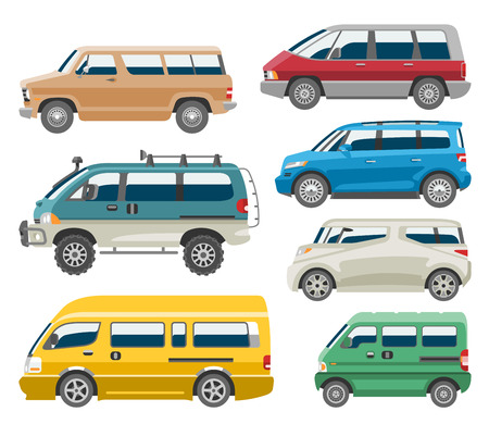Van car vector auto vehicle minivan family minibus vehicle and automobile banner isolated citycar set on white background illustration