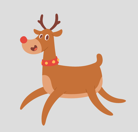 Christmas cute reindeer vector character New Year illustration deer animal for Santa Claus