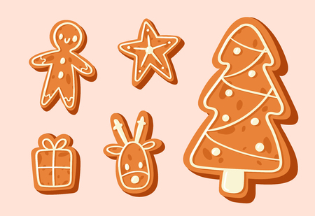 Christmas cake vector sweet desserts food traditional cakes for Xmas dinner and teatime - tree, deer, cakeman, bell, house, sock and penguin 2018 winter cakes Illustration