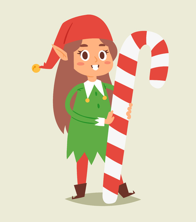 Christmas elfs kids vector children Santa Claus helpers cartoon elfish girl young characters traditional costume celebrated