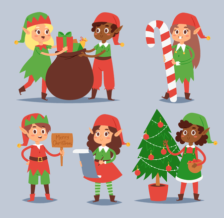 Christmas elfs kids vector children Santa Claus helpers cartoon elfish boys and girls young characters traditional costume celebrated Christmas Illustration