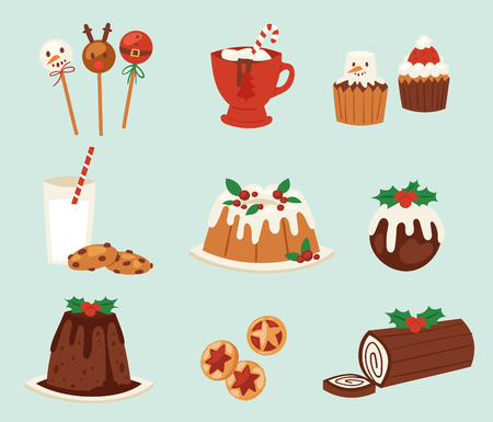 Christmas food vector desserts holiday decoration xmas family diner sweet celebration meal illustration. Traditional festive winter cake homemade x-mas party Illustration