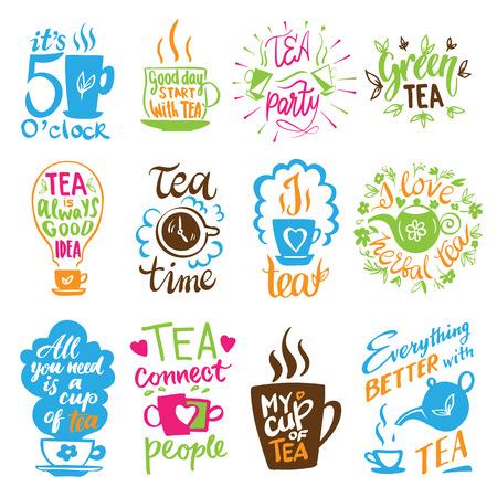 Teatime quote set vector lettering cup of tea vintage print tea time typography poster design teapot five o clock isolated illustration. Ilustração