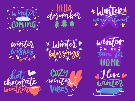 Winter Hello logo vector badge text letters motivation welcome wintertime phrases and quotes lettering Illustration