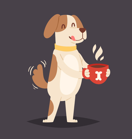 Dog holding a glass of coffee with bone print