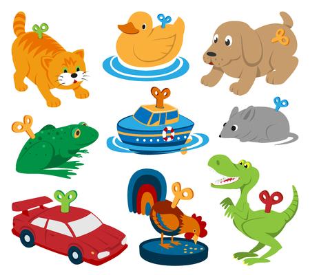 Flat illustration of different kids toys