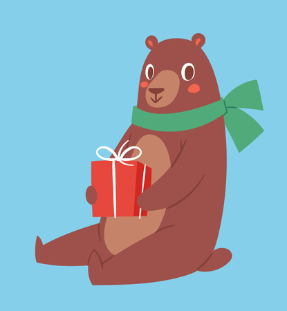 Brown bear vector animal and gift box cute beauty character funny style pose celebrate Christmas Xmas or Birthday holiday or New Year time big bear animal