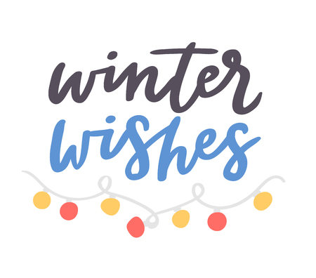 Winter Hello logo vector badge text letters motivation welcome wintertime phrases and quotes illustration lettering