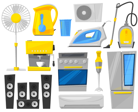 Household appliances electronic kitchen home appliance for house set.