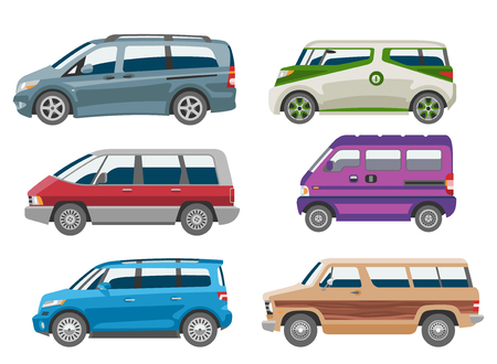 Minivan car vector van auto vehicle family minibus vehicle and automobile banner isolated city car on white background illustration. Illustration
