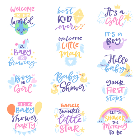 Baby shower sign vector boy or girl newborn kids birth party lettering text with calligraphy letters or textual font for baby shower invitation card illustration for typography isolated on white background.