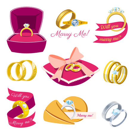 Wedding rings vector engagement symbol gold silver jewellery for proposal marriage wed sign will you marry me bridal illustration set isolated on white background.