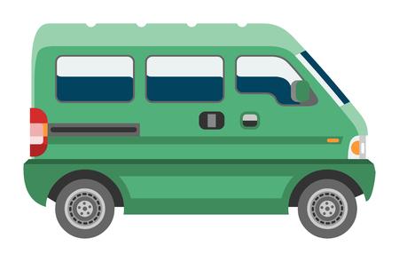 Minivan car vector van auto vehicle family minibus vehicle and automobile banner isolated city car on white background illustration. Illustration