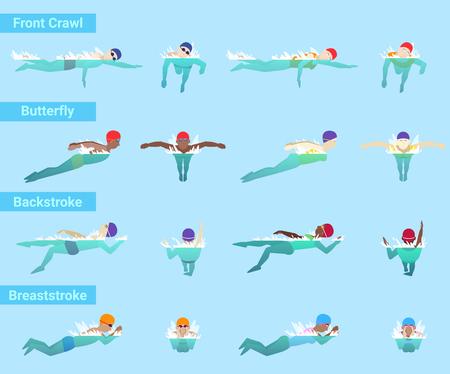 水泳ベクトルスイマースポーツマンは、水着とスイミングプールで水泳キャップで泳ぐ異なるスタイルフロントクロール蝶や背泳ぎや平泳ぎ水中イ