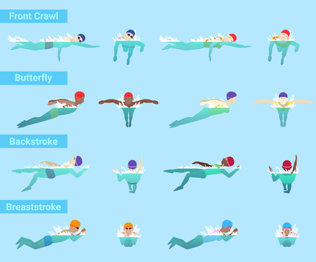 Swimming vector swimmer sportsman swims in swimsuit and swimming cap in swimming pool different styles front crawl butterfly or backstroke and breaststroke underwater illustration isolated on background