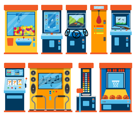 Game machine arcade vector gambling games in casino gamesome gambler or gamer bet in gaming computer machinery gameplay claw a toy or play old console set illustration isolated on white background.