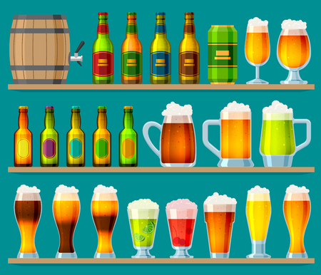 Beer in beer house brewery vector beer mug or beer bottle and dark ale in bar on beery party with alcohol and beered up in pub illustration set isolated on background. Illustration