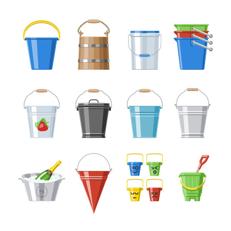 Bucket vector bucketful or wooden pailful and kids plastic pail for playing empty or with water bucketing down in garden and bitbucket for gardening set illustration isolated on white background Vettoriali